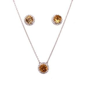 Citrine CZ Necklace Earring Set in Sterling Silver